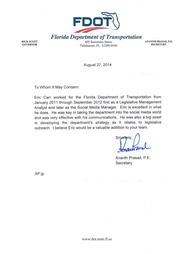 Secretary Ananth Prasad, P.E. - Letter of Recommendation