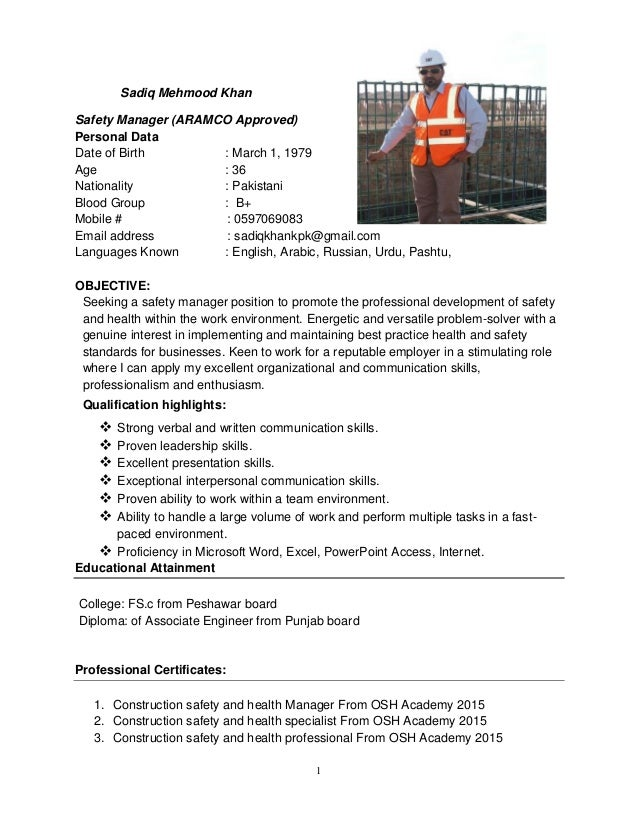 Sadiq Mehmood - Safety Manager - 05-09-011-mq
