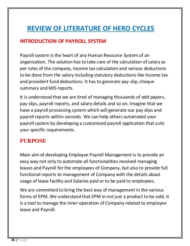 Payroll management system project literature review
