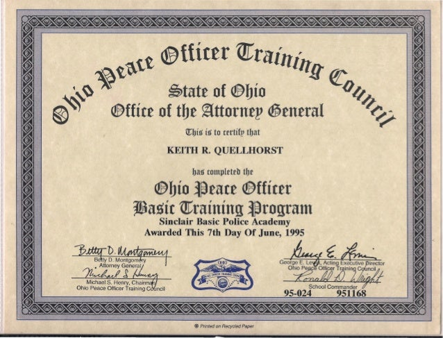 State Of Ohio Peace Officer Certification