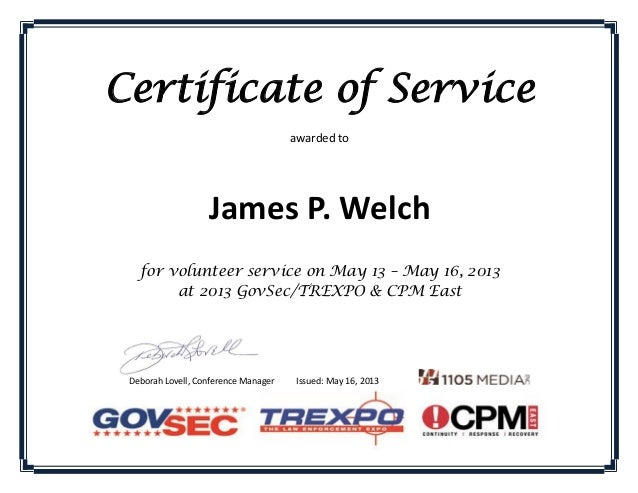 Certificate of Volunteer Service_James Welch