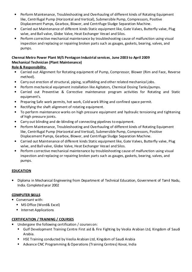 Mechanical Technician CV