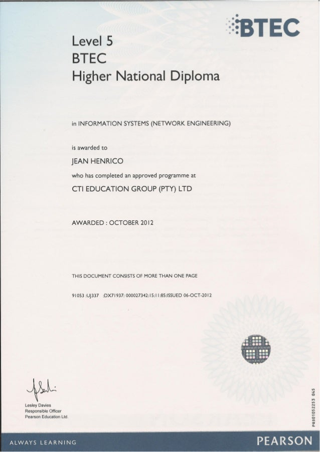btec higher national diploma