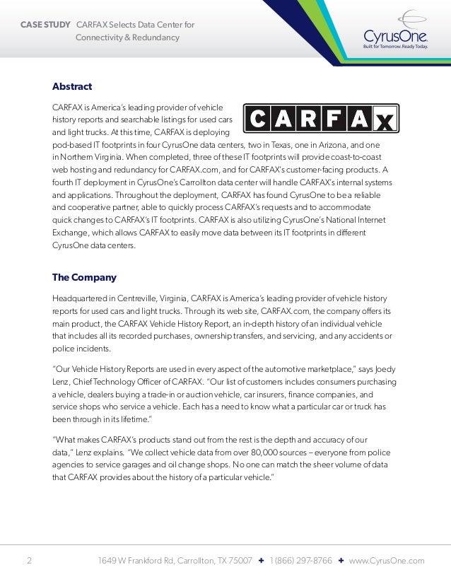 Carfax Customer Service >> Cyrusone Case Study Carfax