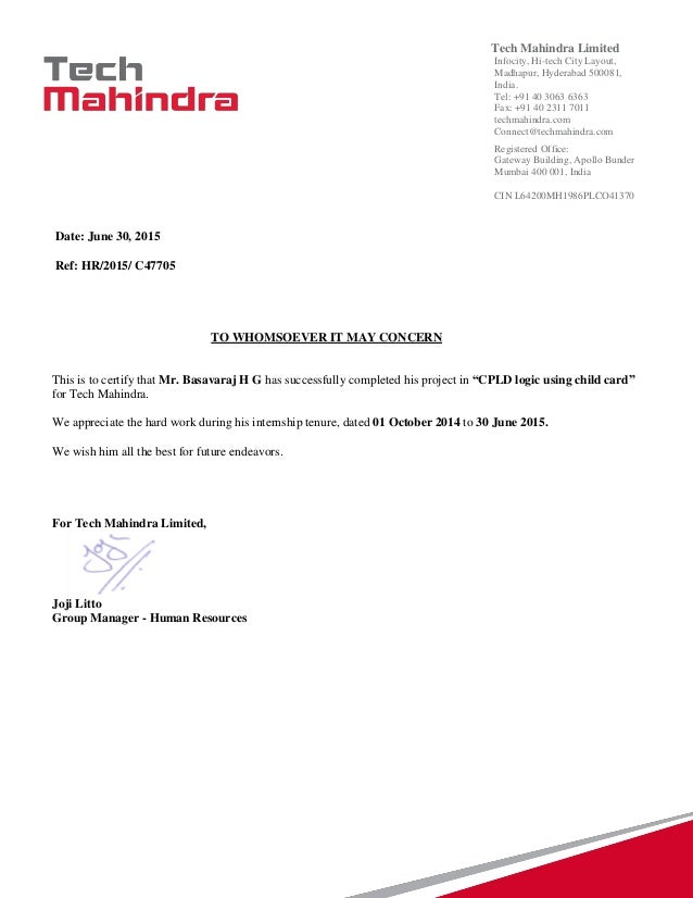 Tech Mahindra Experience Letter