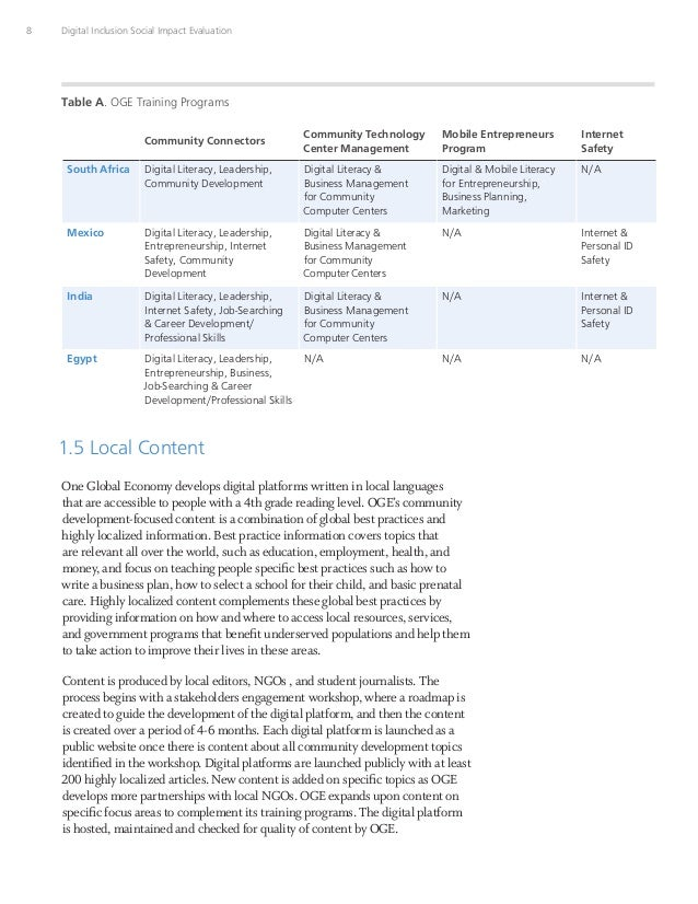 8 Digital Inclusion Social Impact Evaluation Community Connectors Community Technology Center Management Mobile Entreprene...
