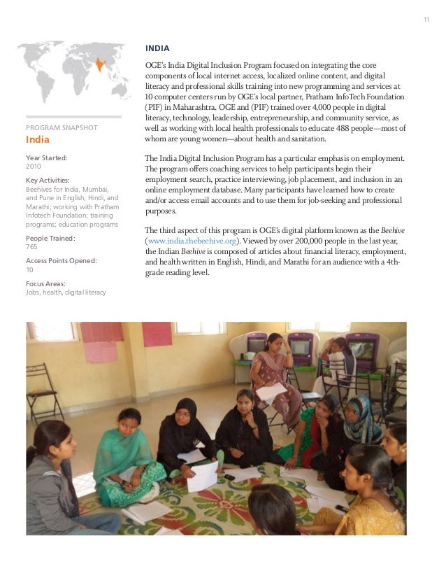 11 PROGRAM SNAPSHOT India Year Started: 2010 Key Activities: Beehives for India, Mumbai, and Pune in English, Hindi, and M...