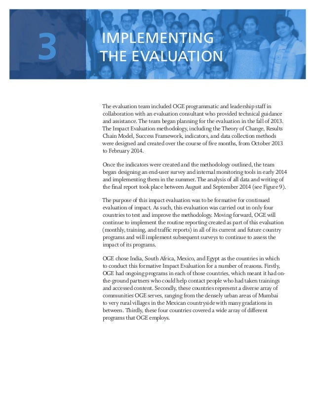 25 The evaluation team included OGE programmatic and leadership staff in collaboration with an evaluation consultant who p...