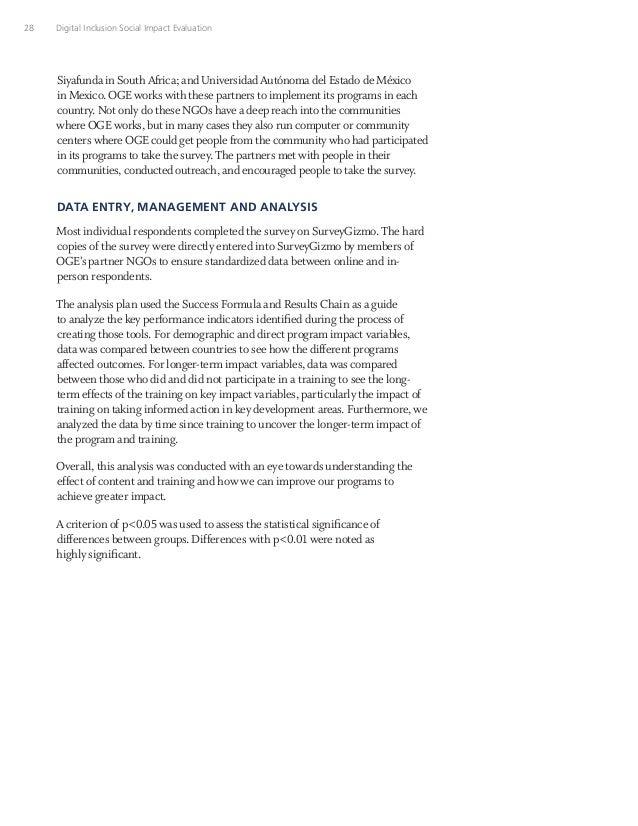 28 Digital Inclusion Social Impact Evaluation Siyafunda in South Africa; and Universidad Autónoma del Estado de México in ...