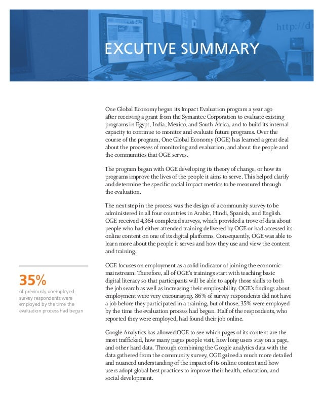 1 One Global Economy began its Impact Evaluation program a year ago after receiving a grant from the Symantec Corporation ...