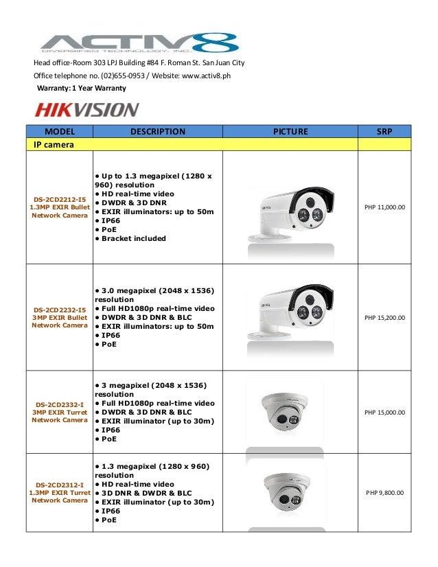 MODEL DESCRIPTION PICTURE SRP DS-2CD2212-I5 1.3MP EXIR Bullet Network Camera • Up to 1.3 megapixel (1280 x 960) resolution...