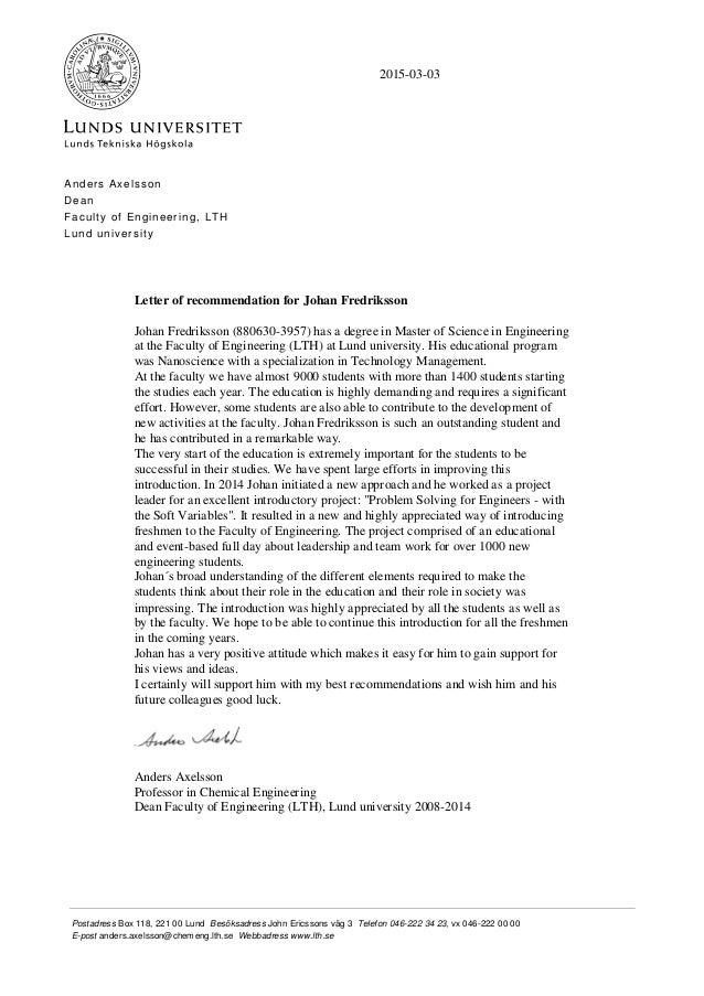 Superb Johan Fredriksson Letter Of Recommendation. Postadress Box 118, 221 00 Lund  Besöksadress John Ericssons Väg 3 Telefon 046 222