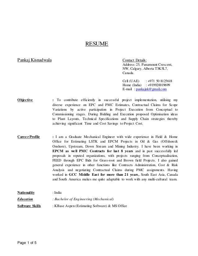 sr cost estimator resume july 2016 pankaj kisnadwala