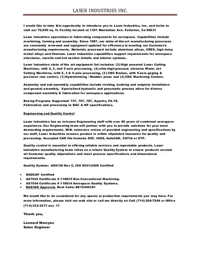 Laser Introduction Letter
