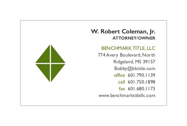 Benchmark title llc business card for Business card titles for owners
