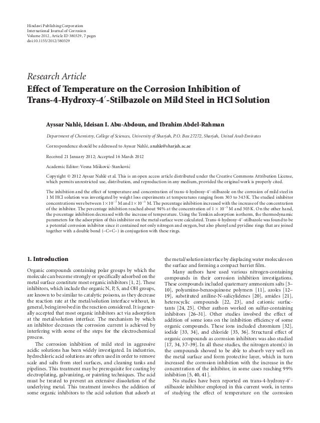 Hindawi Publishing Corporation International Journal of Corrosion Volume 2012, Article ID 380329, 7 pages doi:10.1155/2012...