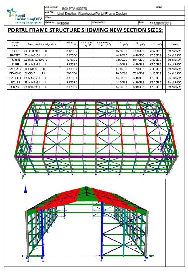 Unki Warehouse Portal Frame Design - Prokon Design Sheets REV01