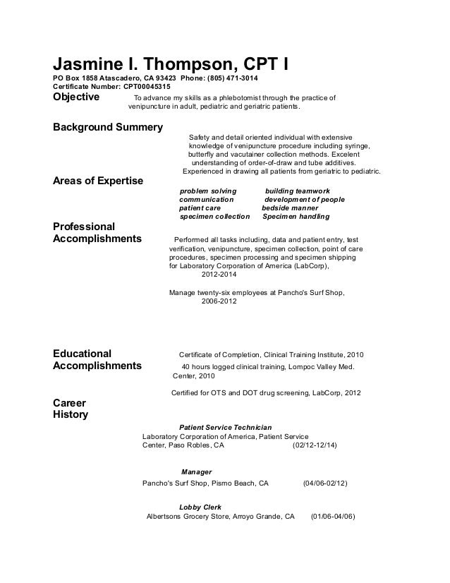 sample cover letter for phlebotomist with no experience - phlebotomy resume