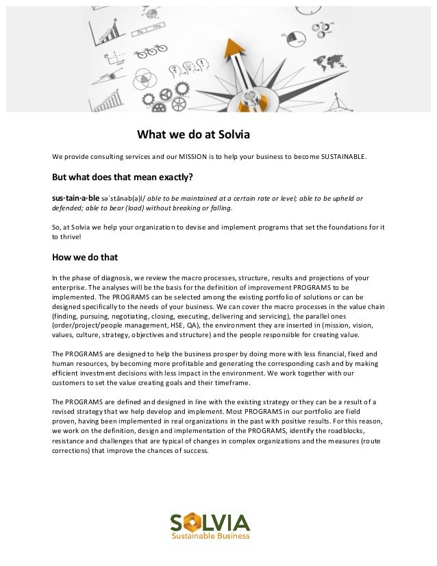 What  we  do  at  Solvia      We  provide  consulting  services...