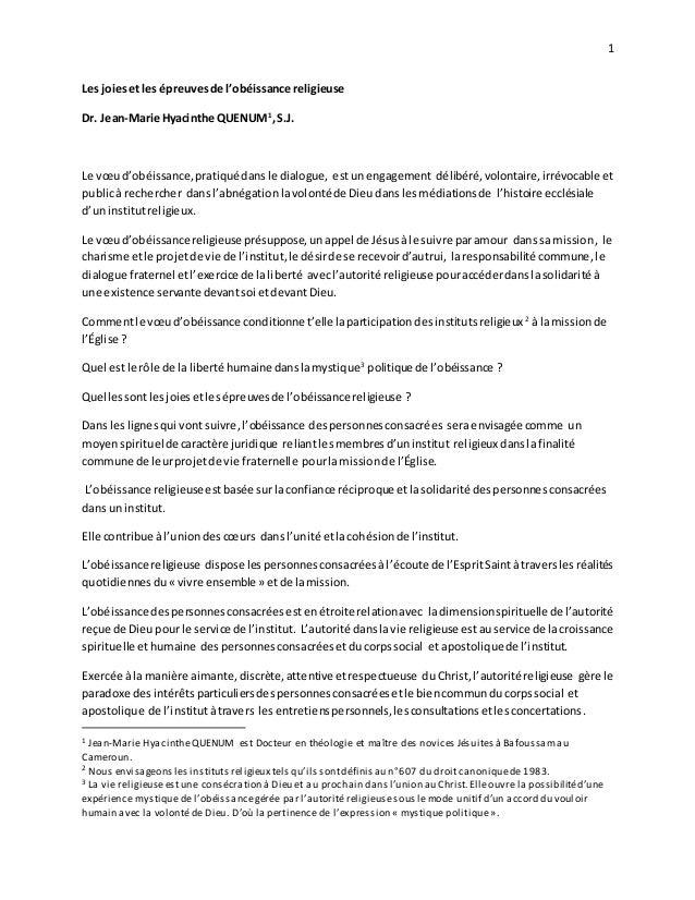 1 Les joiesetles épreuvesde l'obéissance religieuse Dr. Jean-Marie Hyacinthe QUENUM1 ,S.J. Le vœud'obéissance,pratiquédans...