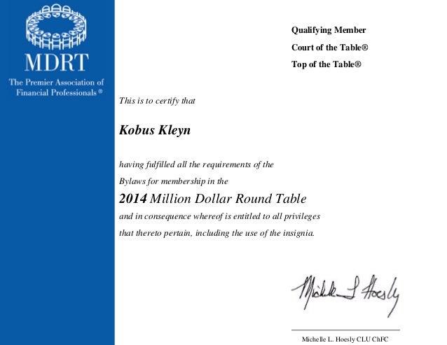 MDRT Membership 2014 Kobus Kleyn
