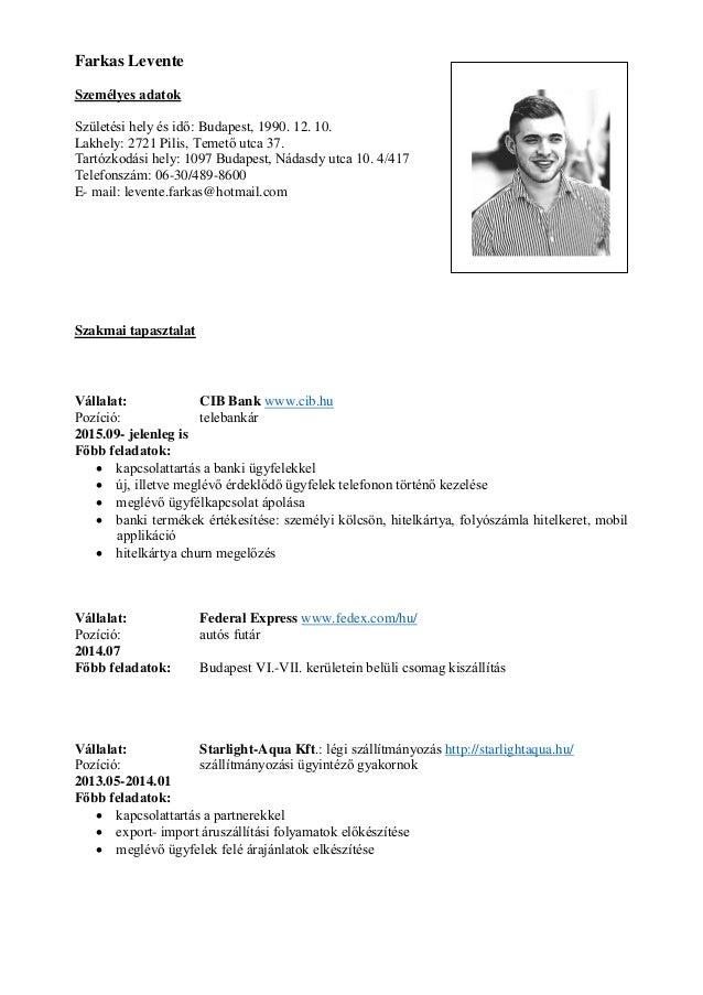 önéletrajz lakhely Önéletrajz Farkas Levente (CV) önéletrajz lakhely