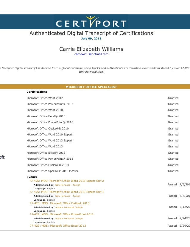 Authenticated Digital Transcript Of Certifications