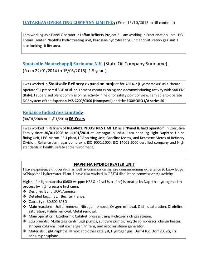 operation refinery mayur resume - Board Operator Sample Resume