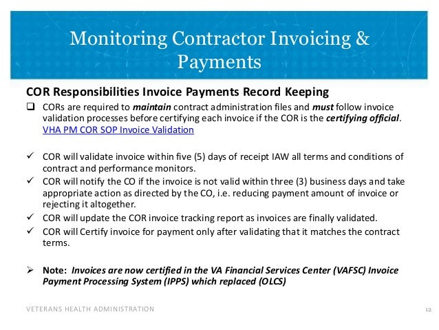 cor responsibilities 11 13 veterans health administration monitoring contractor invoicing