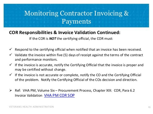 14 veterans health administration monitoring contractor invoicing