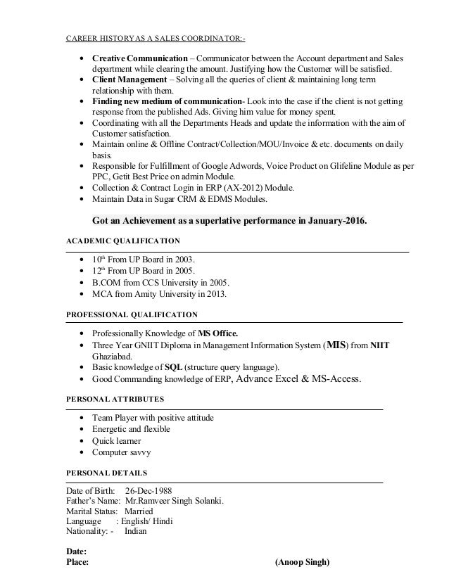 resume mis tl sales coordinator profile with 5 years experience