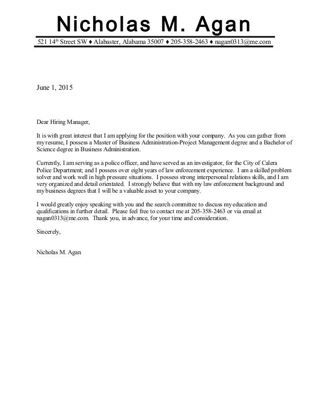 N Agan Cover Letter Mba