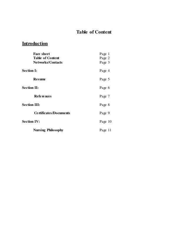 Resume And Portfolio 2 Table Of Content Introduction Face Sheet