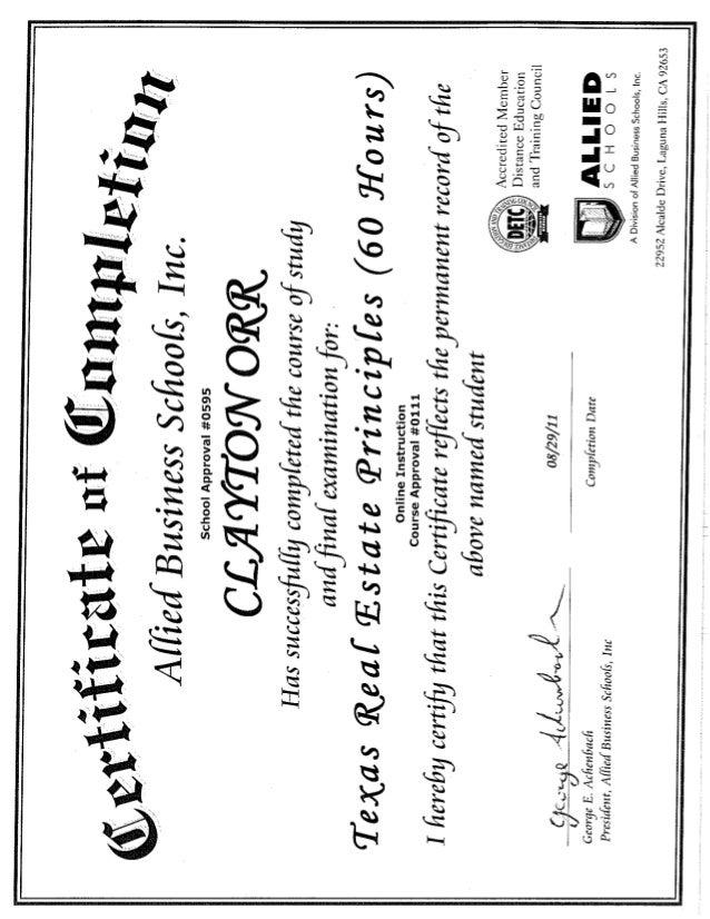 Allied Business School Certificates