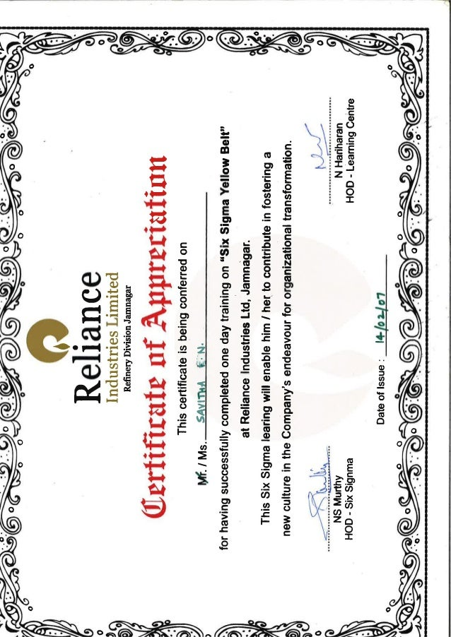 reliance industries limited six sigma certificate
