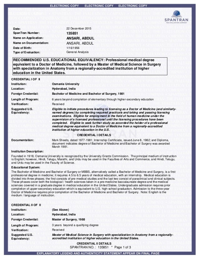 evaluation SPANTRAN MBBS & M.S.ANATOMY