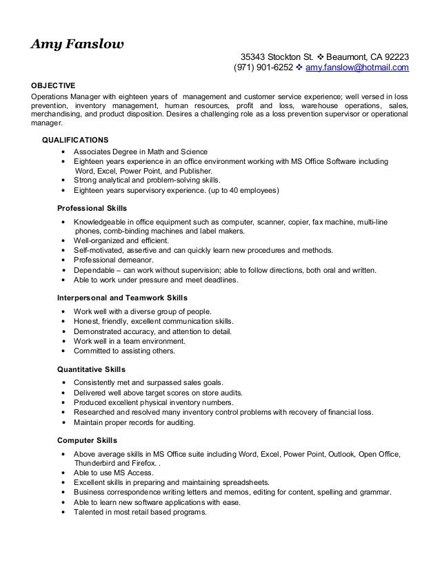 Resume.Operations.AmyFanslow