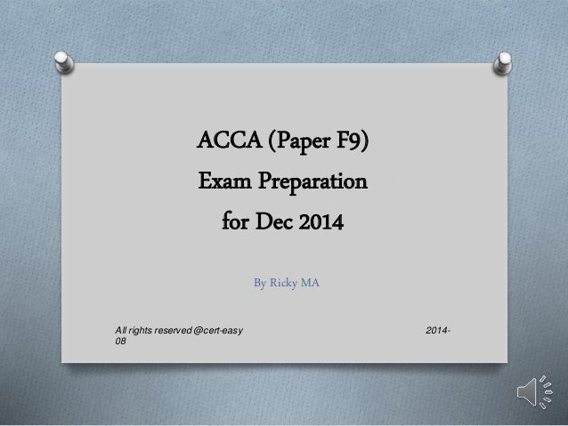 acca f9 Free acca course notes • free acca lectures • free tests • free tutor support • studybuddy • largest acca forums chapter 6 management of working capital (4) - cash 1 introduction cash balances, and to consider ways of managing these cash balances effectively 2 reasons for holding cash: transaction motive precautionary motive.