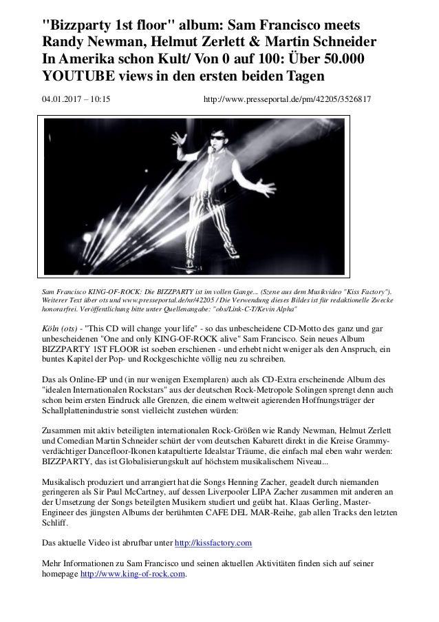 """""""Bizzparty 1st floor"""" album: Sam Francisco meets Randy Newman, Helmut Zerlett & Martin Schneider In Amerika schon Kult/ Vo..."""