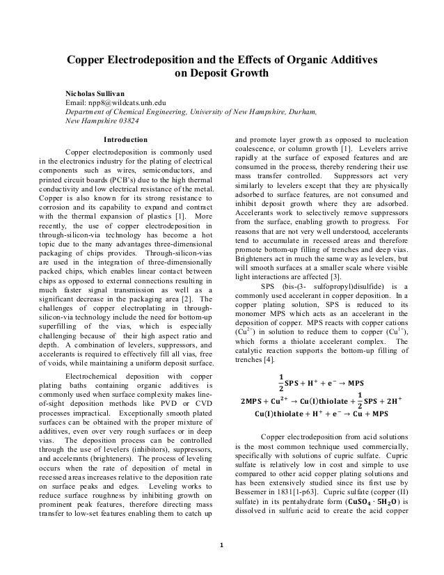 Electrochemical Deposition Research