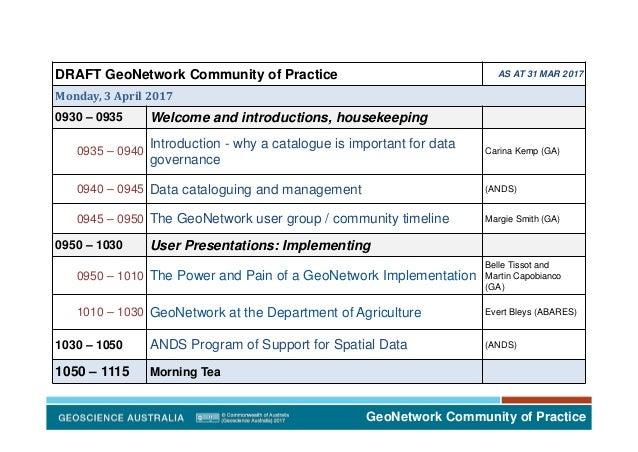 GeoNetwork Community of Practice DRAFT GeoNetwork Community of Practice AS AT 31 MAR 2017 Monday,3April2017 0930 – 0935...