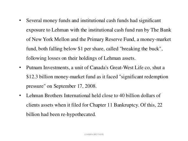 the caused and effects of lehman An example of such company is the lehman brothers, a housing and real estate  company that went  the caused and effects of lehman brothers bankruptcy.