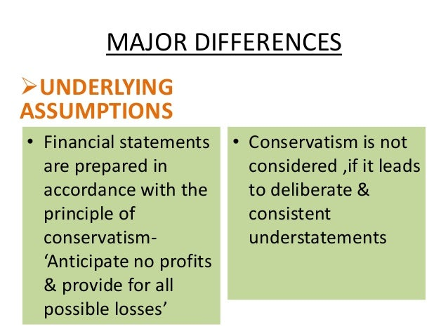 basic principles of conservatism Two exceptions to the basic principles: materiality and conservatism under certain circumstances, the costs of applying the principles of accounting exceed the benefits in these situations, management is allowed (and, in some cases, required) to depart from the principles.