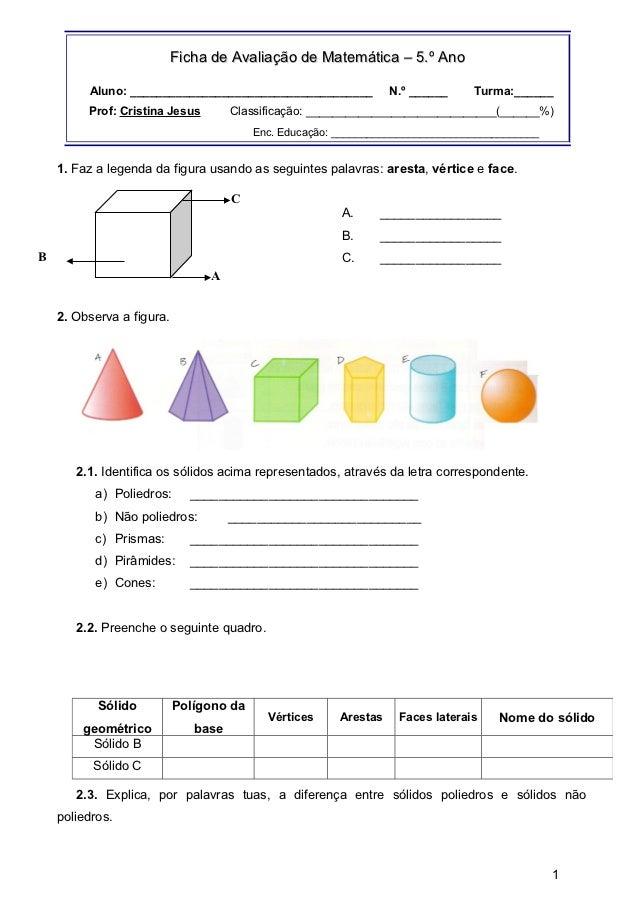 Ficha de Avaliação de Matemática – 5.º Ano         Aluno: _____________________________________             N.º ______    ...