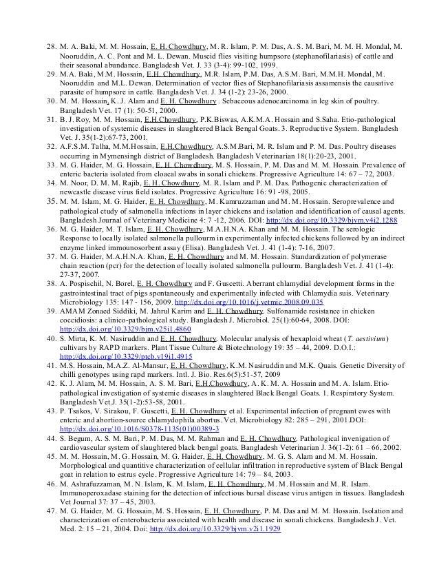 28. M. A. Baki, M. M. Hossain, E. H. Chowdhury, M. R. Islam, P. M. Das, A. S. M. Bari, M. M. H. Mondal, M. Nooruddin, A. C...
