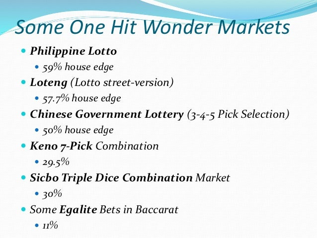 Conclusion  Asian Lottery is a won hit wonder game. The house edge should be adjusted higher due to the fact that no play...