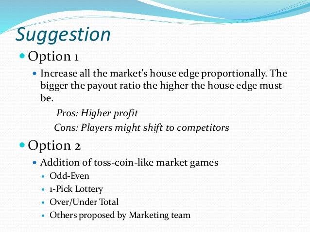 Market Chances Payout House Edge 0 – 9 Lottery 3 Picks (In Order) 1 out of 1,000 x 899 10% 4 Picks (In Order) 1 out of 10,...