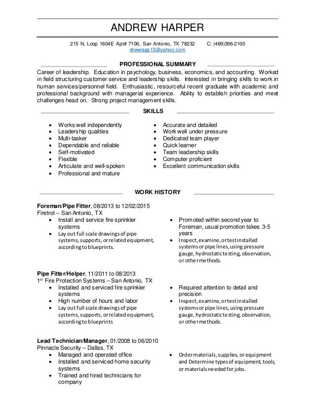 ANDREW HARPER 215 N. Loop 1604E Apt# 7106, San Antonio, ...  Resume Leadership Skills