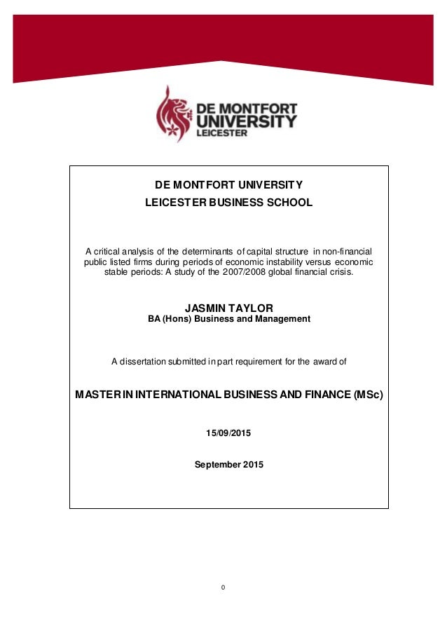 Phd thesis capital structure