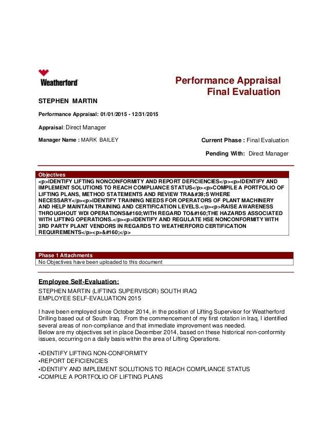 Performance Appraisal Final Evaluation STEPHEN MARTIN Performance Appraisal: 01/01/2015 - 12/31/2015 Appraisal: Direct Man...